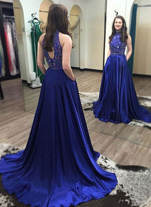 Royal blue long prom dress, blue evening dress