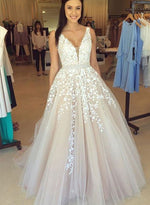 Custom made champagne lace tulle long prom dress, A line evening dresses