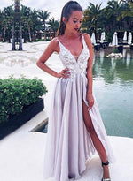 A line v neck lace long prom dress, lace eveninng dress