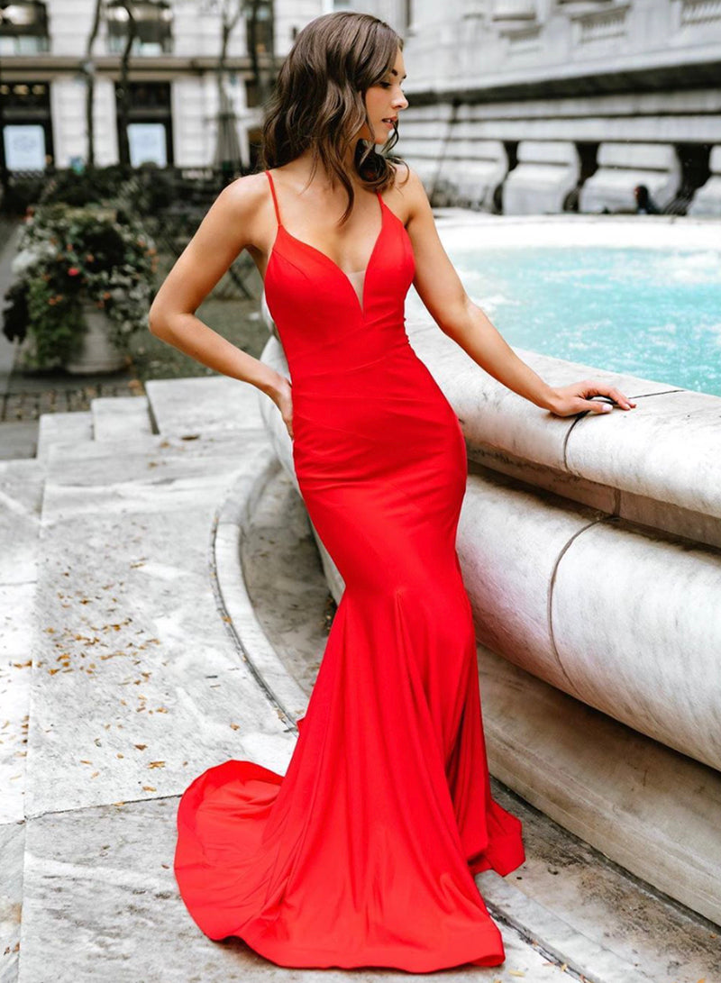 Mermaid long prom dress red evening dress