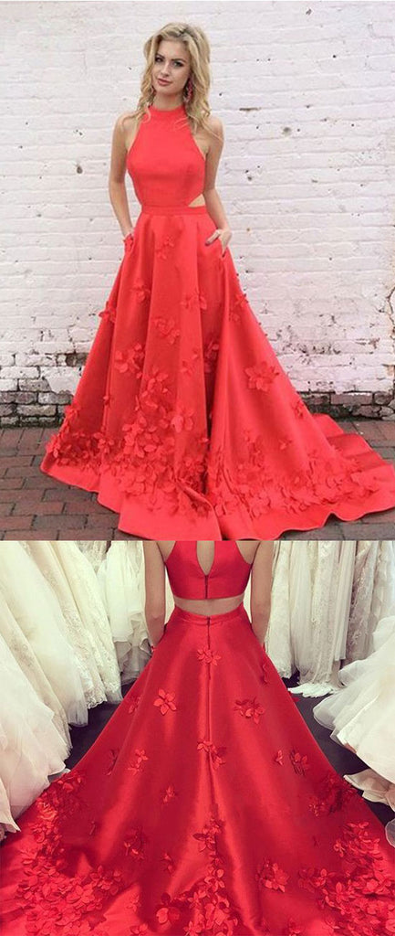 Red high neck long prom dress, red evening dress – trendty