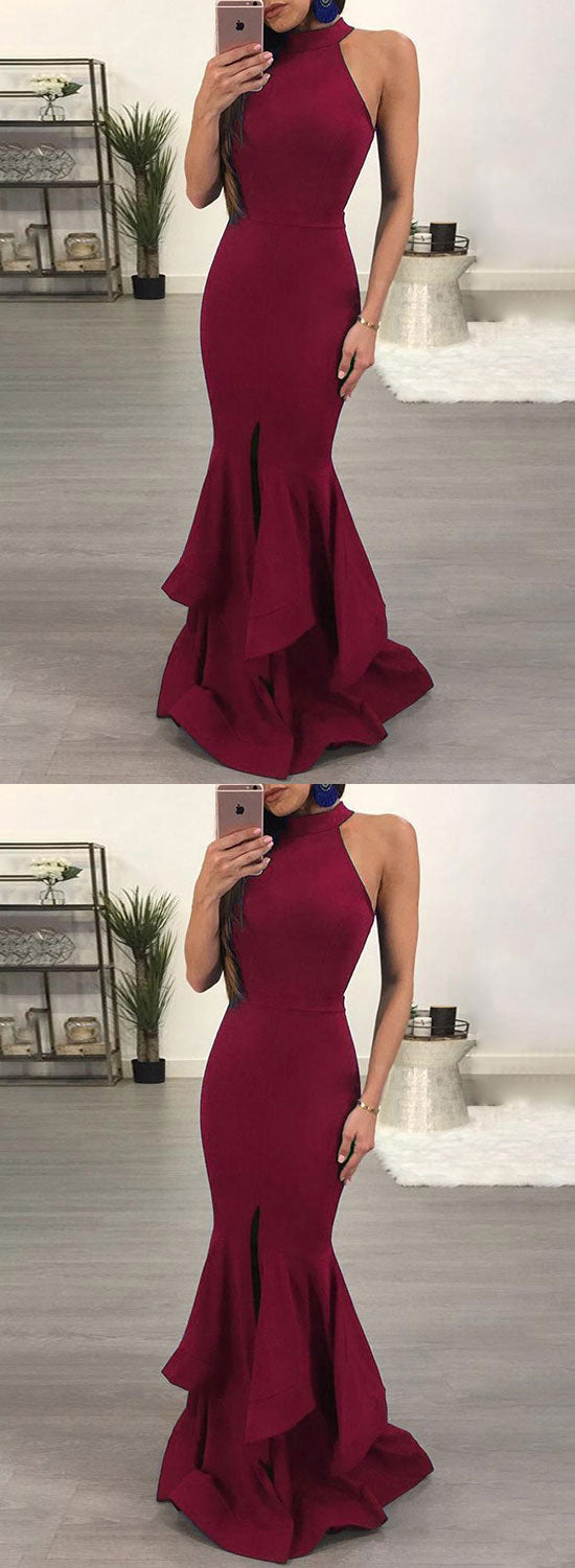 Simple burgundy round neck long prom dress, mermaid evening dress