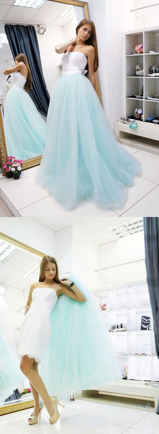 Unique light blue tulle long prom dress, two pieces evening dress