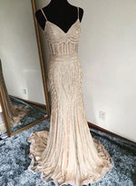 Champagne mermaid long prom dress, evening dress