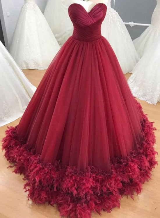 Red tulle long prom gown, formal dress