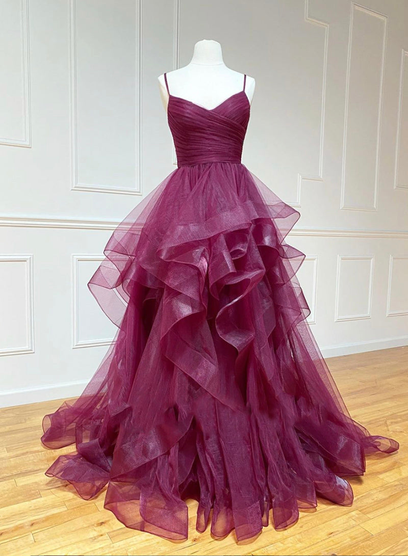 Stylish tulle long prom gown formal dress