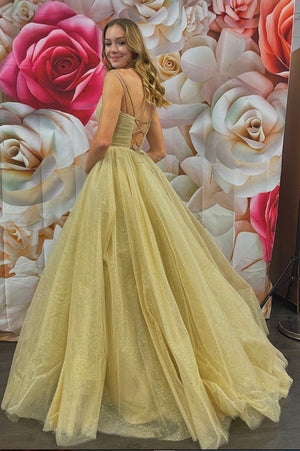 Simple v neck tulle long prom gown A line evening dress
