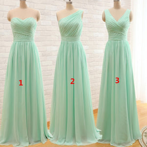 Mint green chiffon long prom dress, bridesmaid dress