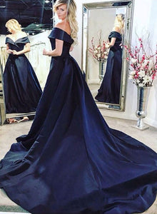 Dark blue long prom dress, evening dress