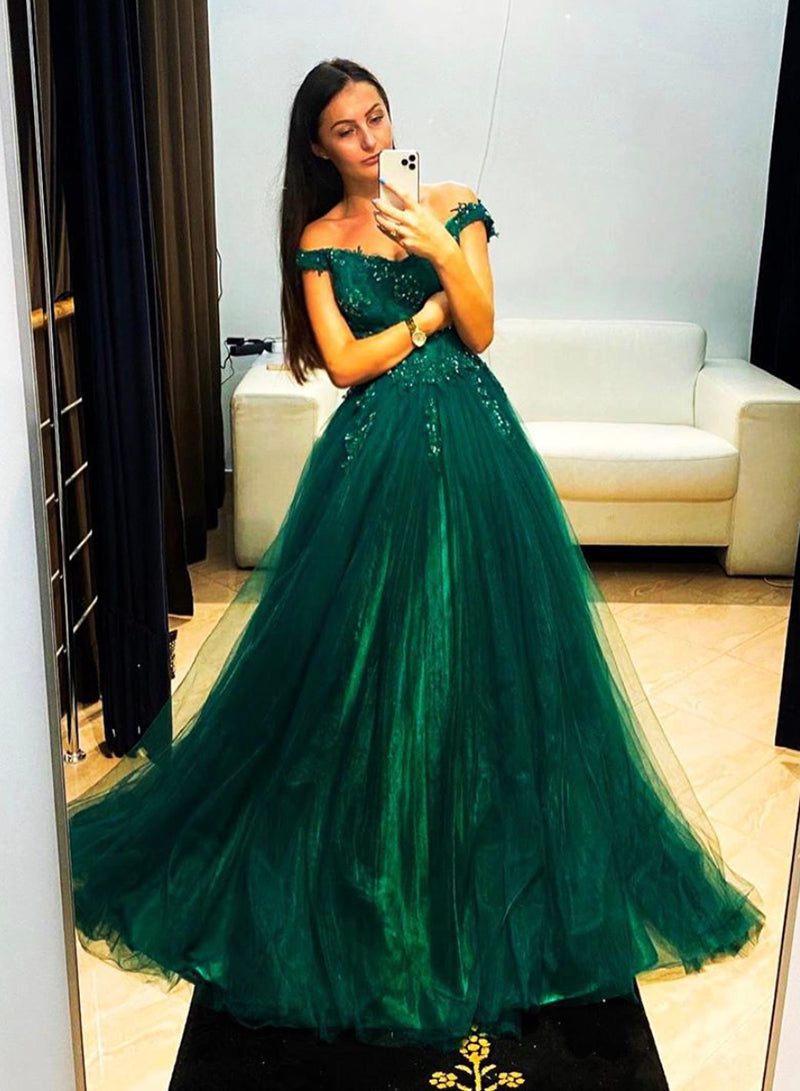 Green tulle lace long prom dress evening dress