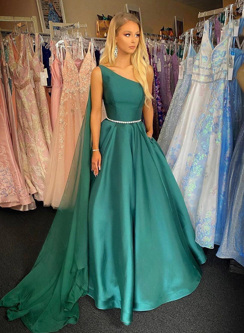 Green satin one shoulder prom dress evening dress