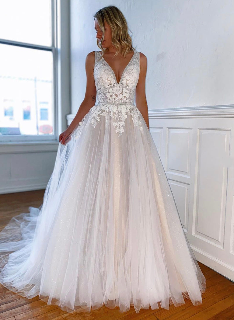 Champagne lace tulle prom dress evening dress