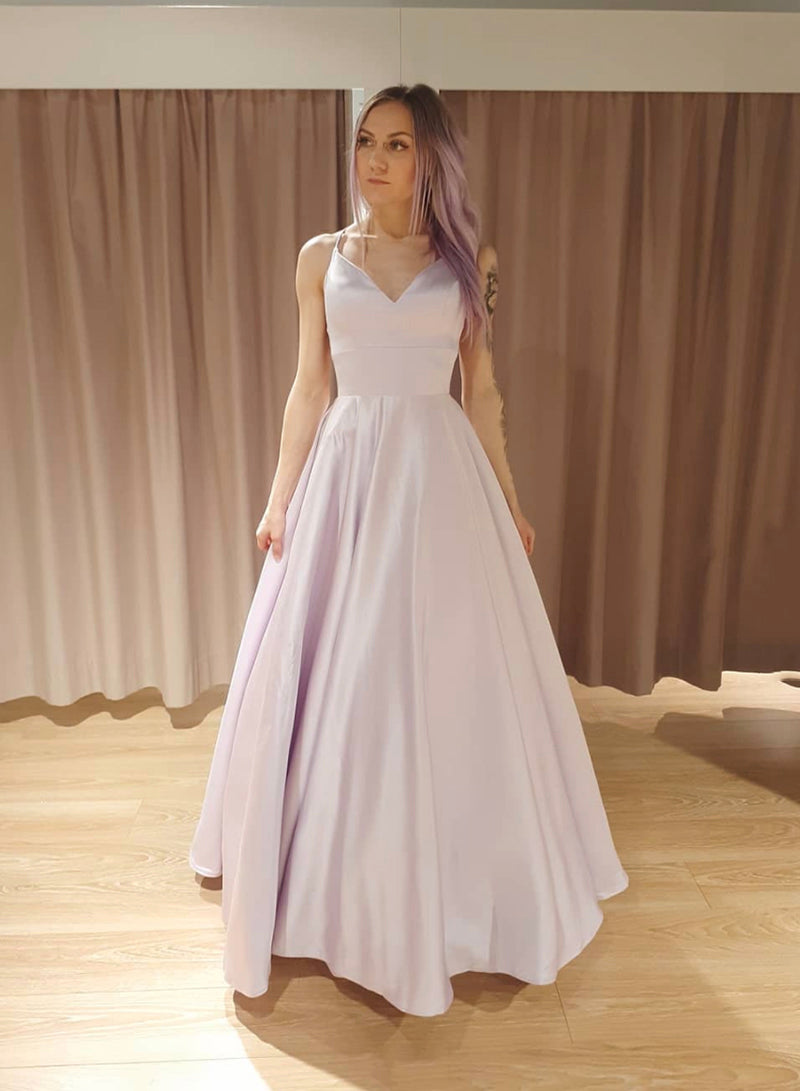 Simple v neck satin long prom dress evening dress
