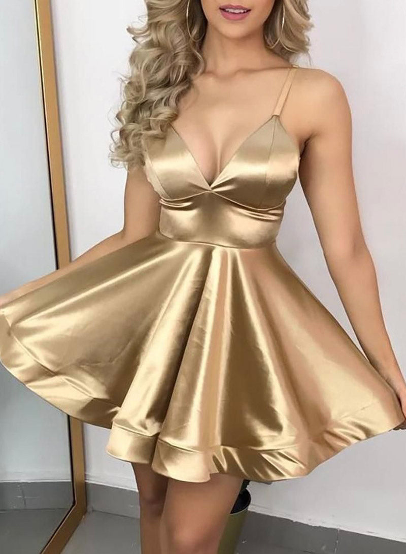 Gold v neck satin short prom dress party dress