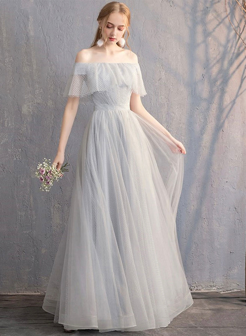 Gray tulle long prom dress evening dress