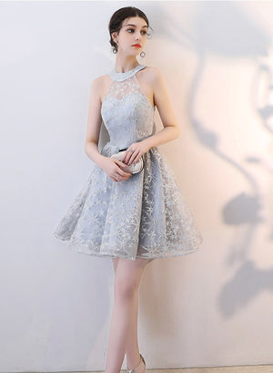 Gray lace halter neck prom dress party dress