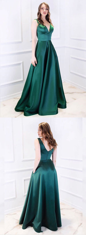 Green v neck satin long prom dress, green evening dress