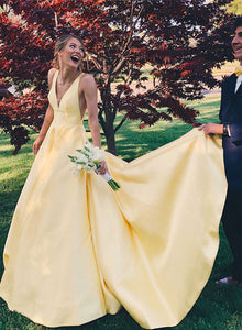 Yellow v neck long prom dress, yellow evening dress