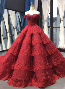 Burgundy lace long prom gown, burgundy evening dress