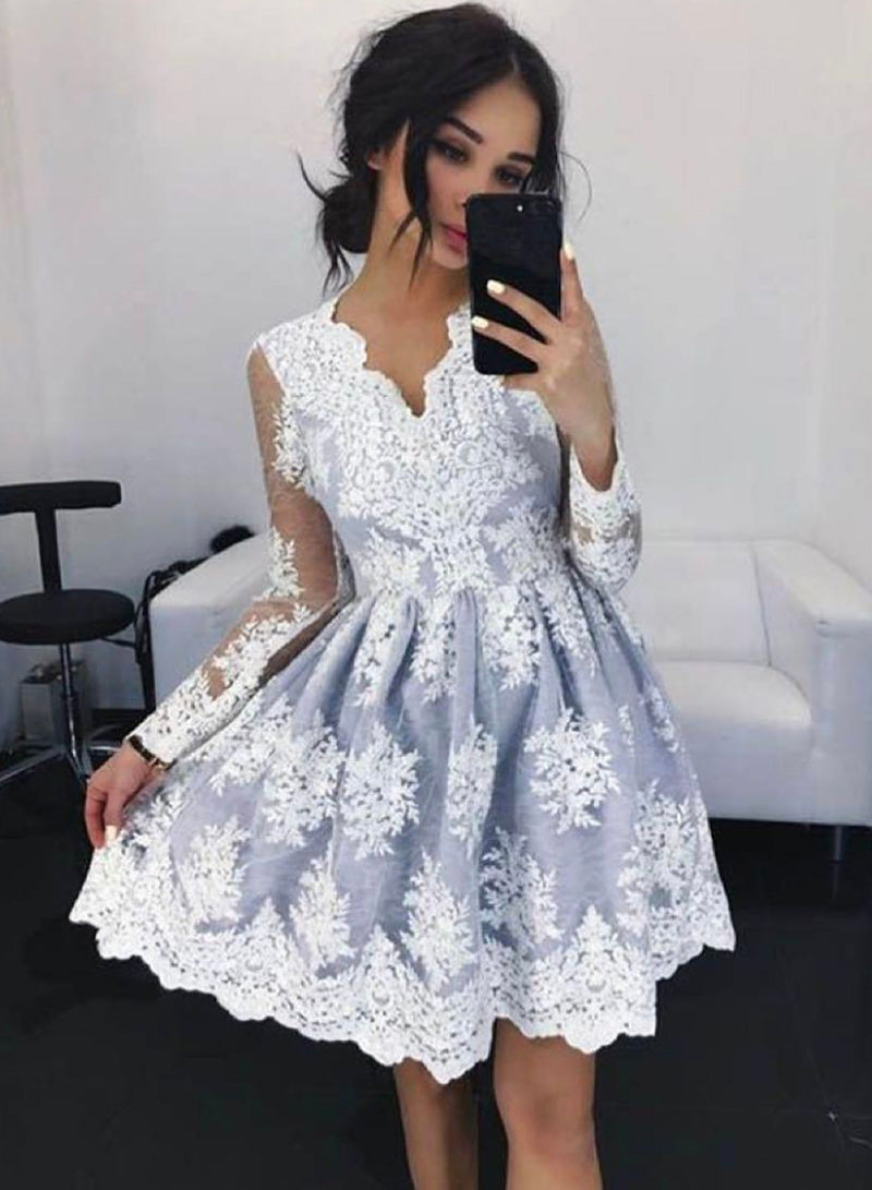 Gray lace short prom dress homecoming dress