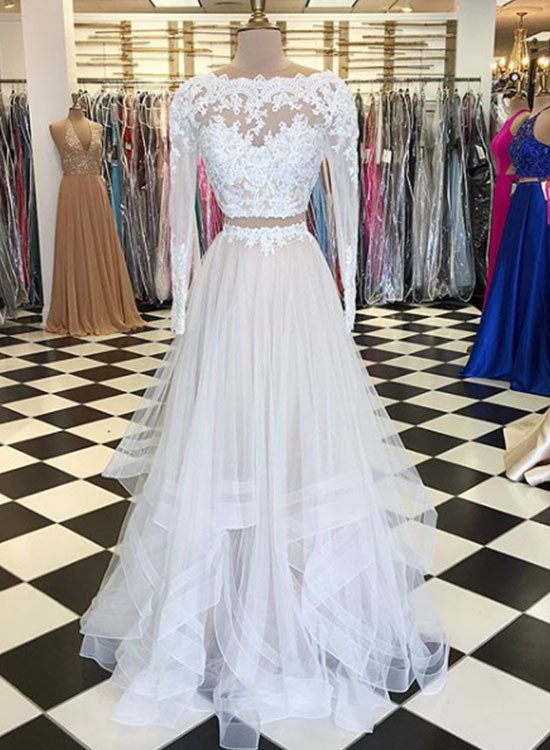 White two pieces tulle long prom dress, long sleeve evening dress ...