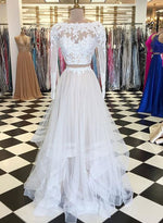 White two pieces tulle long prom dress, long sleeve evening dress