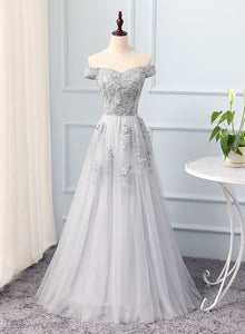 Gray A line tulle lace long prom dress, lace evening dress