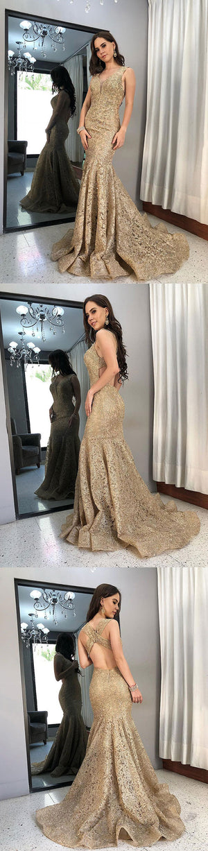 Gold mermaid lace long prom dress, lace evening dress