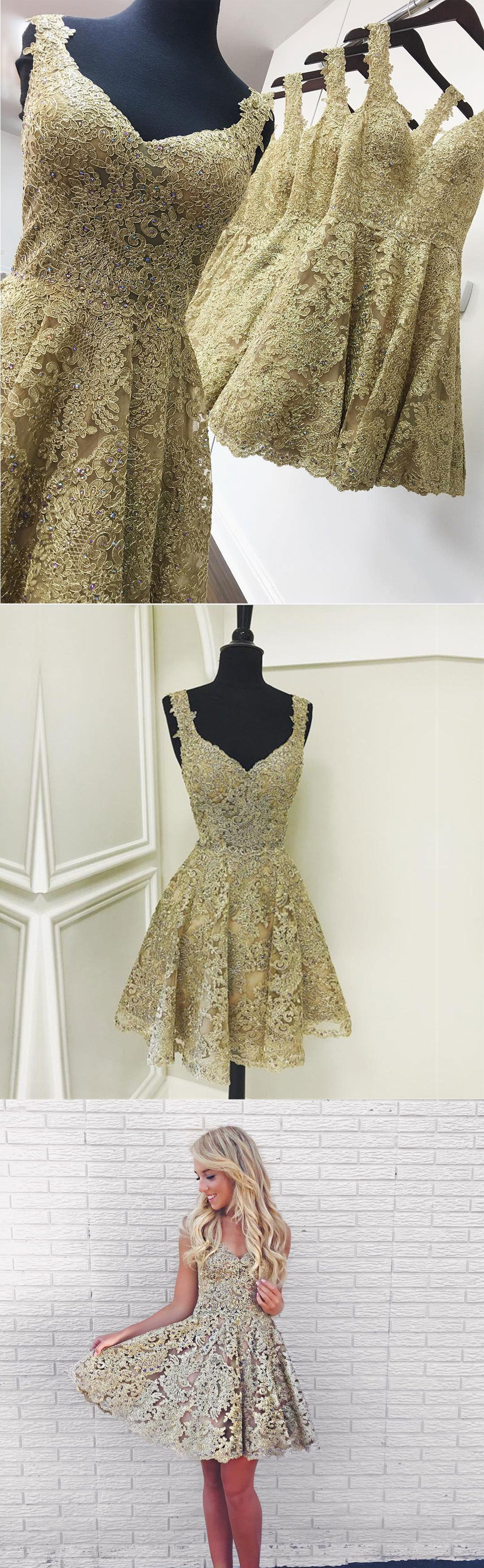 Cute gold lace v neck short prom dress, homecoming dress