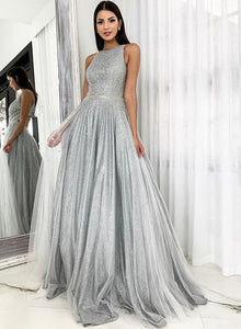 Silver tulle sequins long prom dress evening dress
