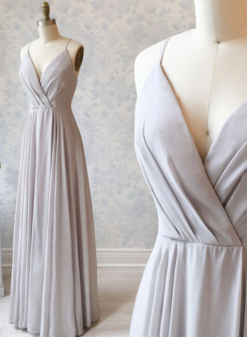 Gray v neck long prom dress simple evening dress