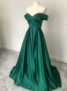 Green satin long prom dress simple evening dress
