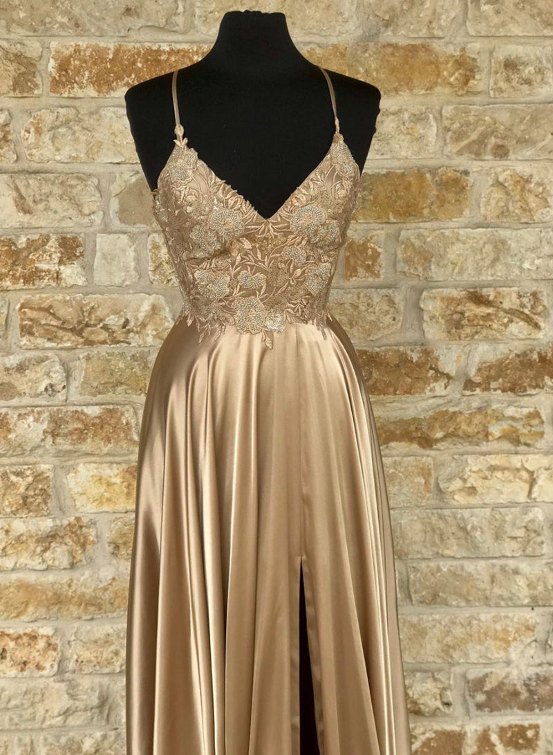 Gold v neck lace long prom dress evening dress