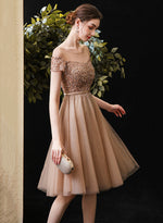 Gold tulle beads short prom dress homecoming dress