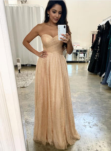 Gold sequins tulle long prom dress, evening dress