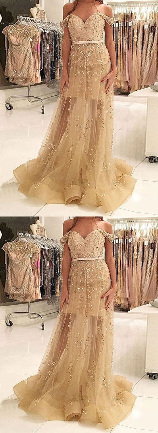 Gold sequins tulle long prom dress, gold evening dress