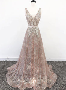 Sparkly v neck lace sequins long prom dress, evening dress