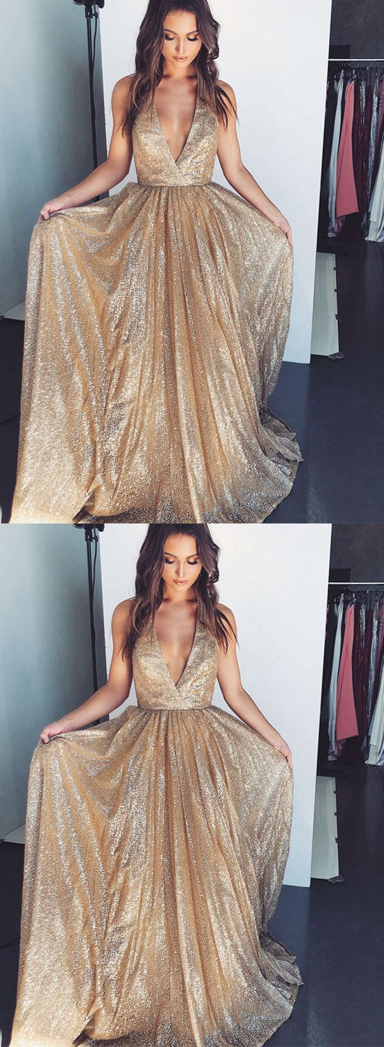 Gold v neck sequins long prom dress, evening dress