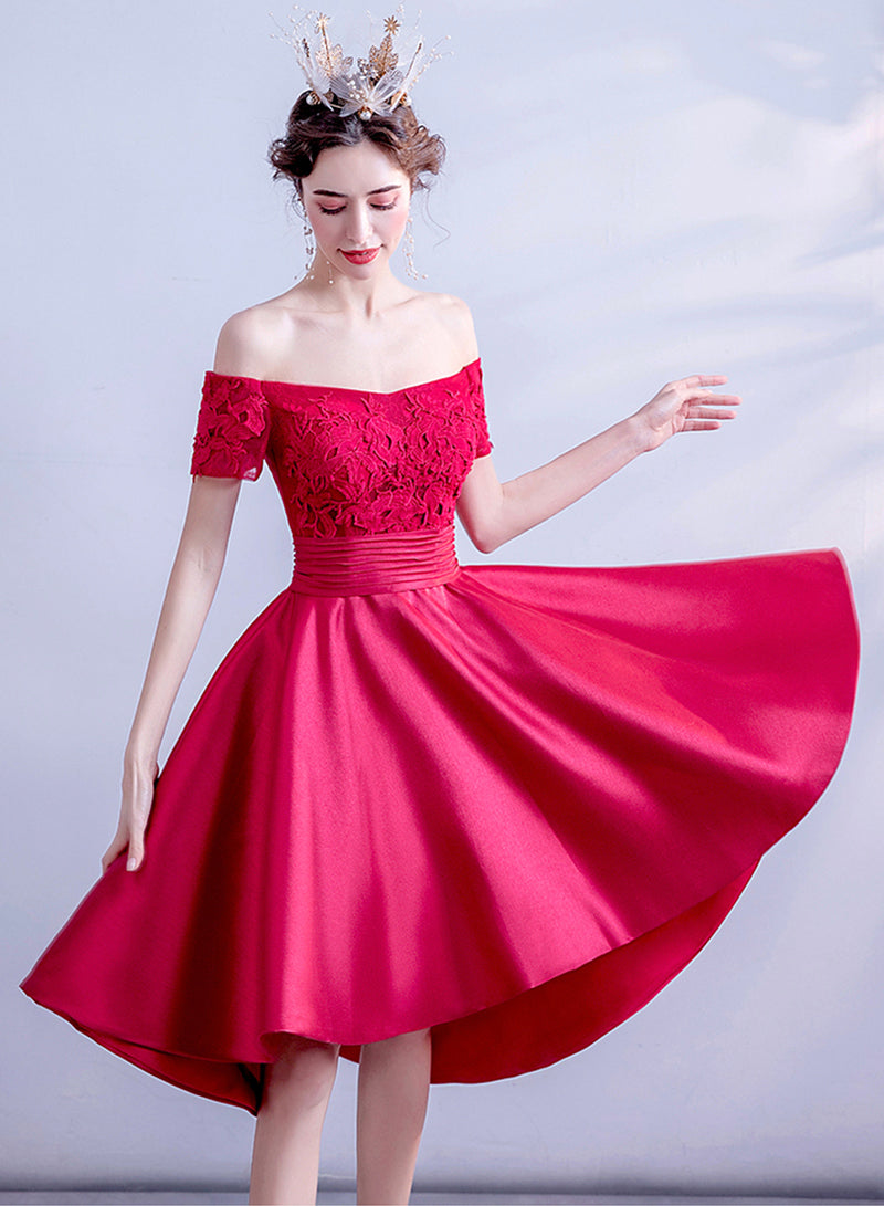 Red lace short prom dress homecoming dress