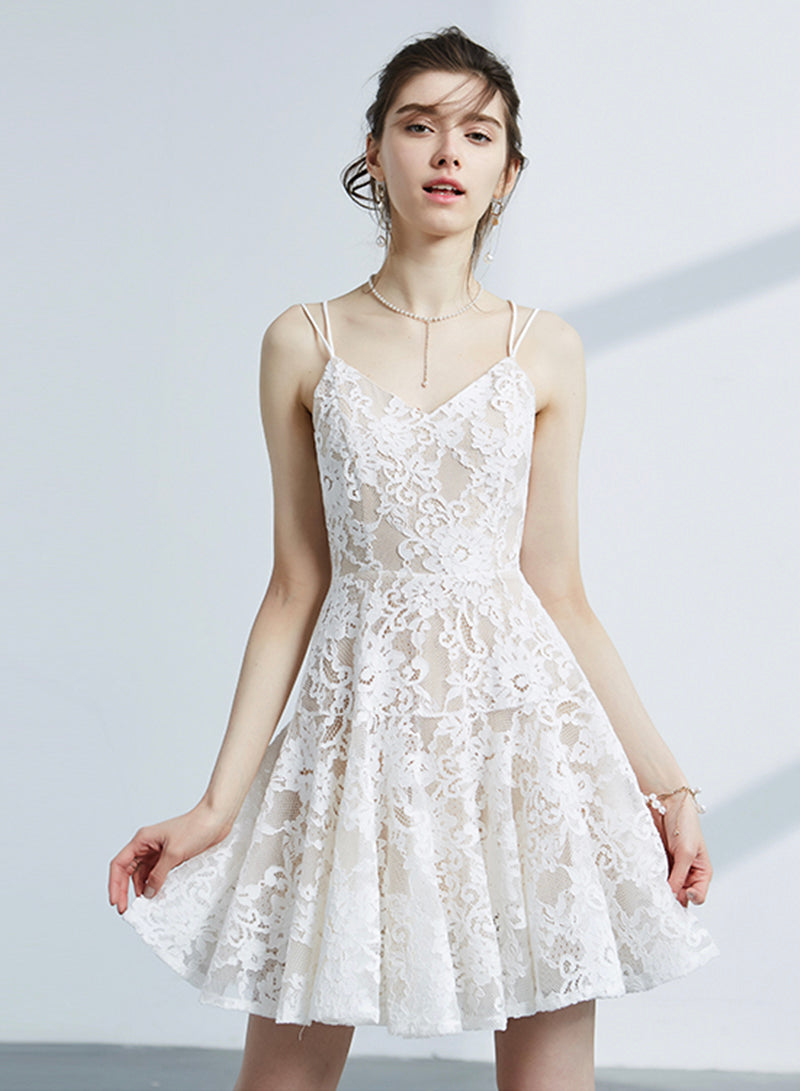 Cute V-neck lace short prom dress party dress