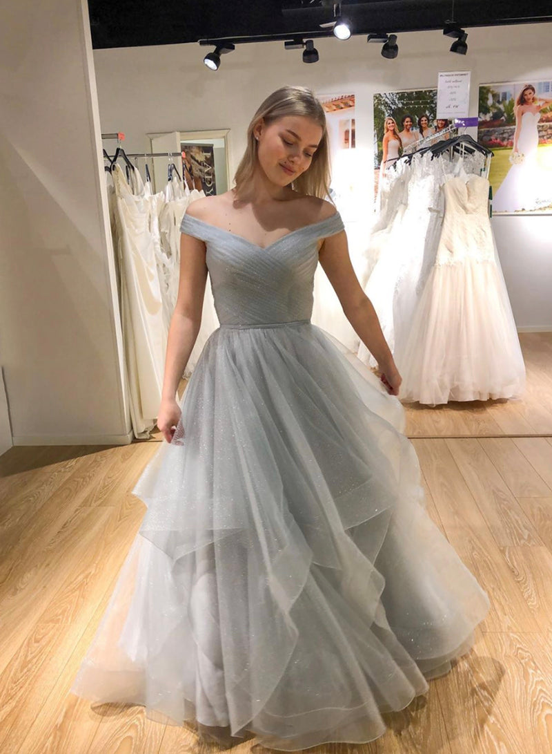 Gray tulle long prom dress gray evening dress