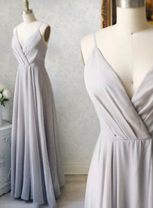 Gray v neck chiffon long prom dress evening dress