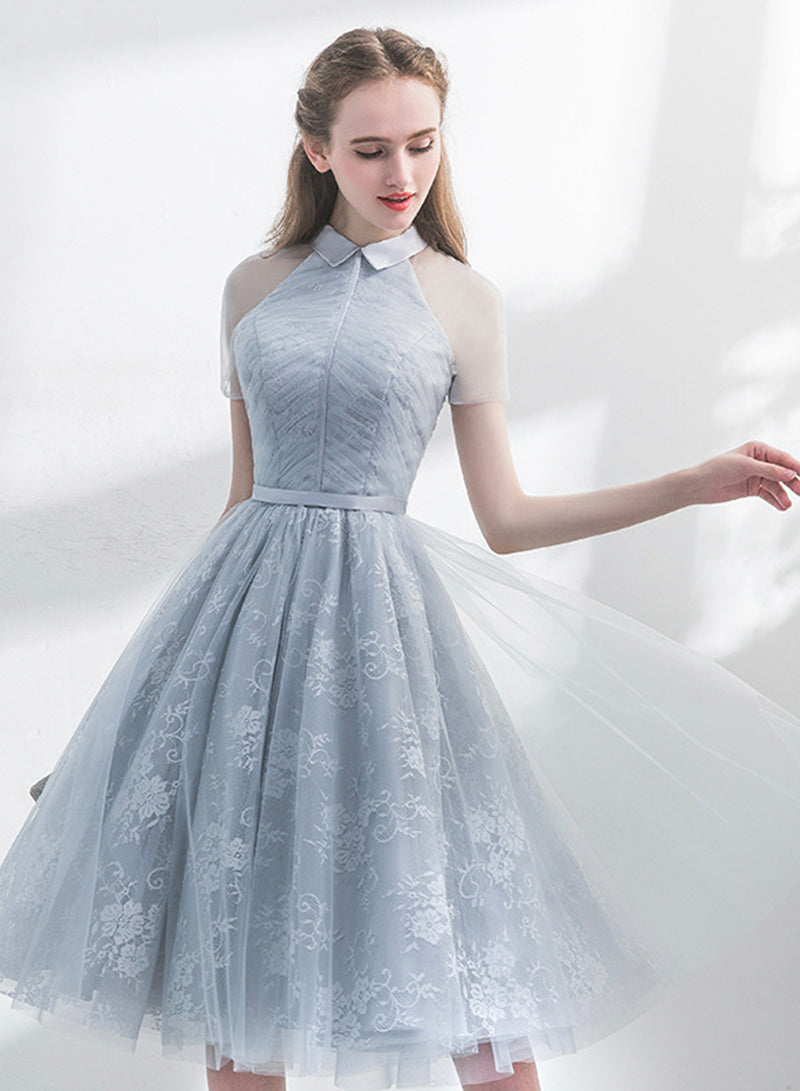 Gray tulle lace short prom dress party dress