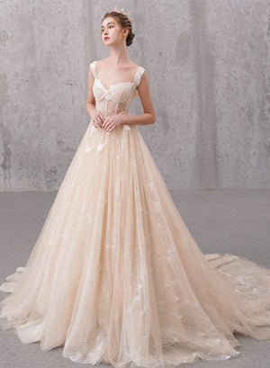 High quality A-line tulle long ball gown dress