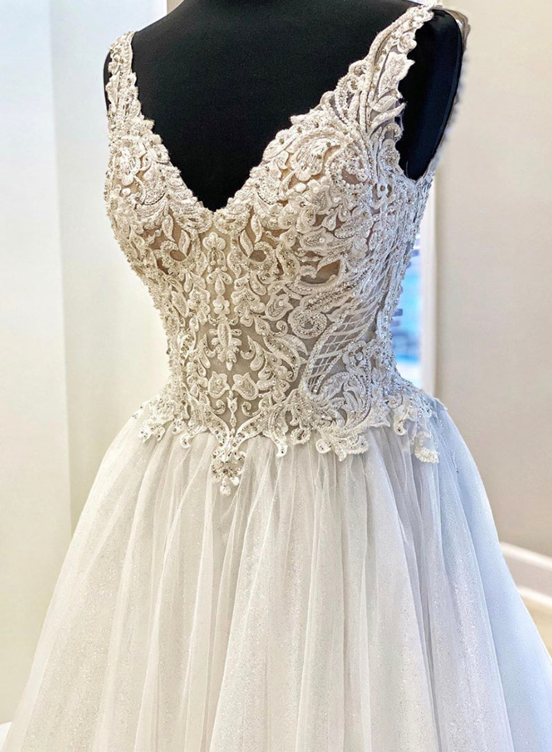 White v neck lace long ball gown evening dress