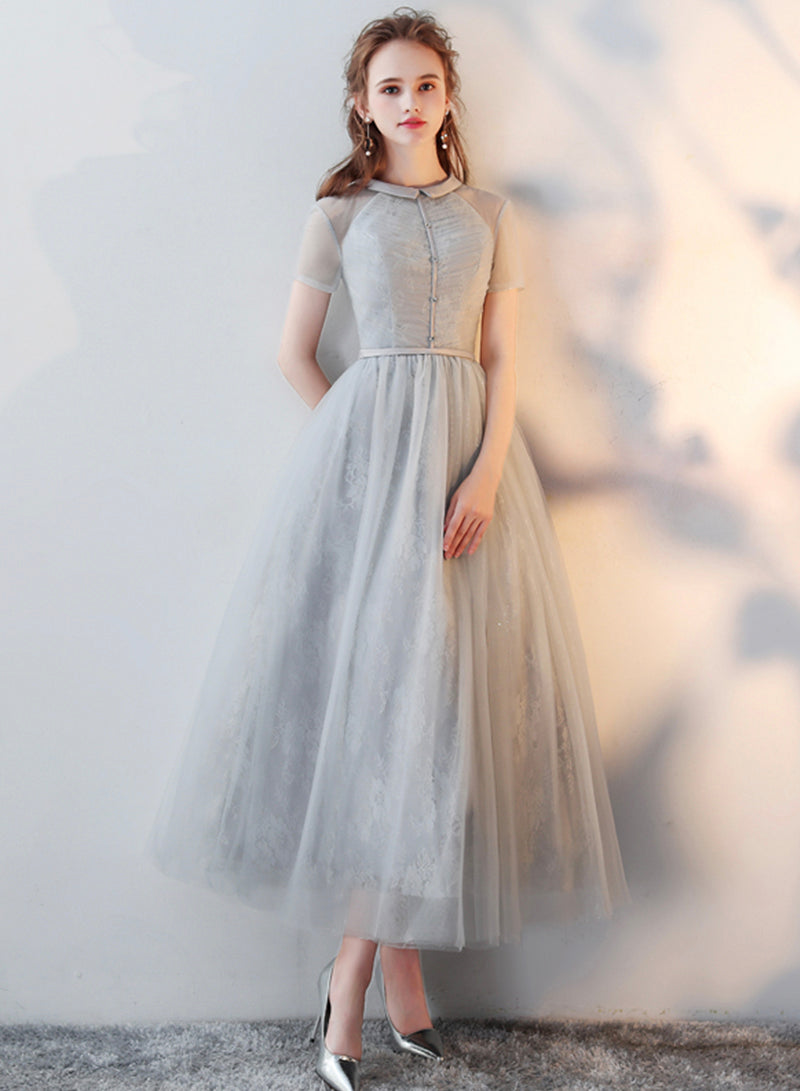 Gray tulle tea length prom dress party dress