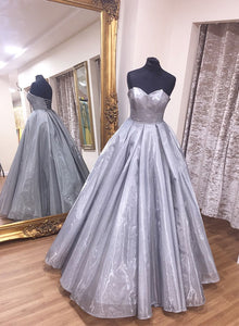 Gray v neck long prom dress, simple evening dress