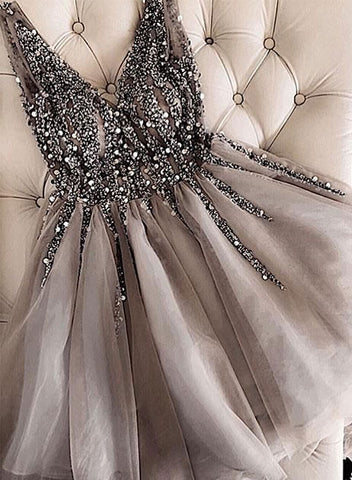 Cute v neck tulle sequins long prom dress, evening dress
