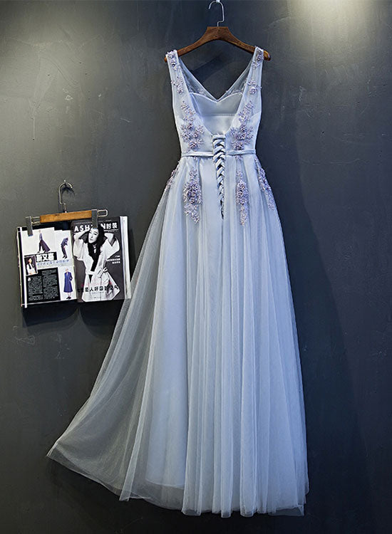 Gray v neck lace tulle long prom dress, gray evening dress