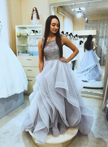 Gray A line tulle ruffled long prom gown